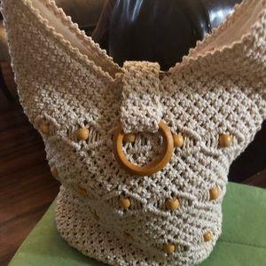 Handbags - Ivory macrame style hobo bag